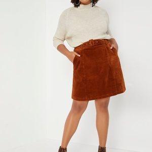 NWOT ELOQUII Cordruroy Aline Mini Skirt Malbec 16